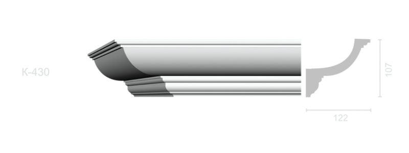 Гладкий карниз К-430